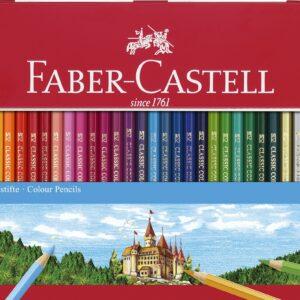Faber-Castell - 6 kantede farveblyanter i metalæske, 36 stk (115886)