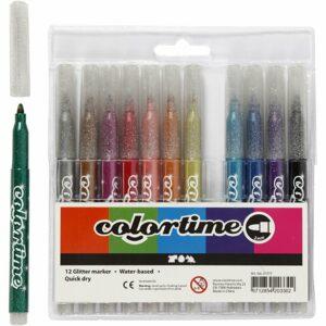 Colortime - Tusch 4,2 mm - Glitter - 12 stk.