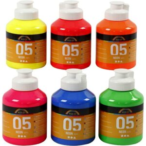 A-Color - Akrylmaling - Neon - (6 x 500 ml)