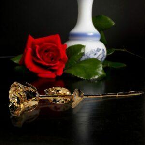 24K Guld Rose - Sort Gaveæske