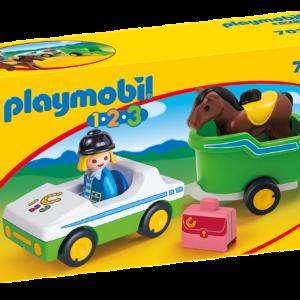 Playmobil  1.2.3 - Bil med hestetrailer (70181)