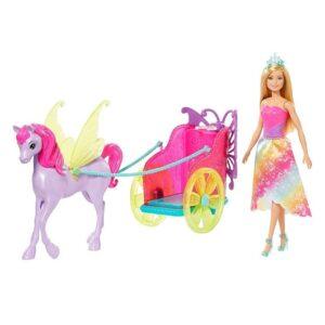 Barbie - Barbie Chariot + Fantasy Hest & Prinsesse Dukke