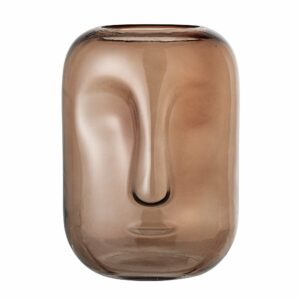 Bloomingville - Face Glas Vase Ø 18 cm - Brun