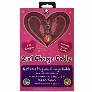 2in1 4m Pink Charge Cable with Unicorn Charm Pink