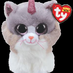 Ty Bamse - Beanie Boos - Asher, Katten med Horn (Medium)