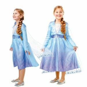 Frost - Elsa Rejse Kjole - Børne Kostume  (Str 128)