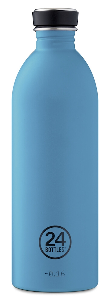 24 Bottles - Urban Bottle 1 L - Stone Finish - Powder Blue