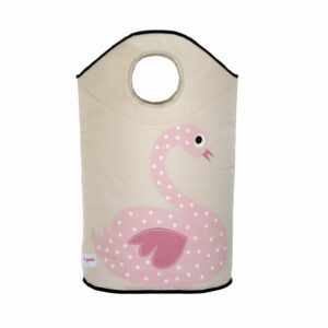 3 Sprouts - Laundry Hamper - Pink Swan