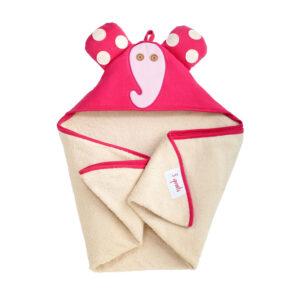 3 Sprouts - Håndklæde m. Hætte - Pink Elephant