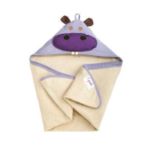 3 Sprouts - Håndklæde m. Hætte - Purple Hippo