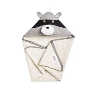 3 Sprouts - Håndklæde m. Hætte - Gray Raccoon