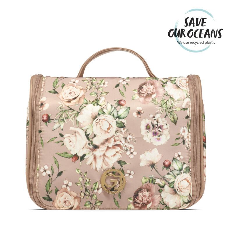 Gillian Jones - Hæng-op Kosmetiktaske - Pink Blomster Print