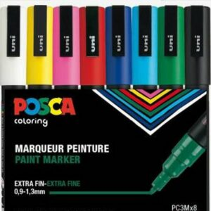 Posca - PC3M - Fin Tip Pen - Basic Colors, 8 stk