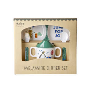 Rice - Melamin Baby Spisesæt Gaveæske - Green Party Animal Print