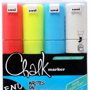Uni - Chalkmarker 8M - Assorted colors, 8 pc