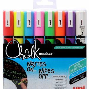 Uni - Chalkmarker PC8K - Assorted colors, 4 pc