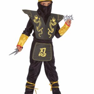 Ciao - Børnekostume - Sort Ninja Deluxe Sæt (10-12 år)