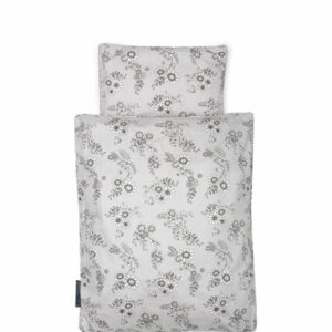 Smallstuff - Doll Bedding - Grey Flower garden
